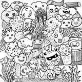 Vector illustration of Monsters and cute alien friendly, cute hand-drawn Stock Photos