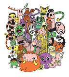 Vector illustration of Monsters and cute alien friendly Stock Images