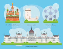 Vector illustration of Monuments and landmarks in Europe Vol. 2 Royalty Free Stock Images