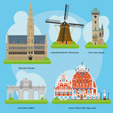 Vector illustration of Monuments and landmarks in Europe Vol. 3 Royalty Free Stock Photos