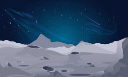 Vector illustration of Moon landscape background with beautiful night sky. stock illustration