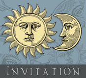 Vector illustration of Moon and Sun Stock Photography