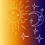 Vector illustration of Moon and Sun with faces Stock Photos