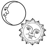 Vector illustration of Moon and Sun with faces Royalty Free Stock Photography