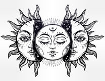 Vector illustration of Moon and Sun with faces. Stock Image