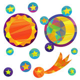 Vector illustration of Moon and Sun with faces Stock Image
