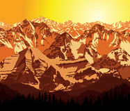 Vector Illustration Morning in Mountains Stock Photography