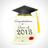 Mortar Board on graduation Certificate Stock Photo