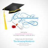 Mortar Board with graduation scroll. Vector illustration of mortar board with graduation scroll Stock Image