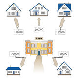 Vector illustration: mortgage loan to buy a house. Infographics: Mortgage loan as a cash flow. Royalty Free Stock Photo