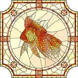 Vector illustration of mosaic gold fish. Vector mosaic of gold fish in round stained-glass window frame Stock Images