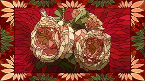 Vector illustration of mosaic pink roses. Stock Photo