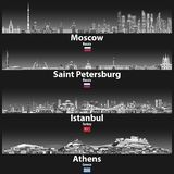 Vector illustration of Moscow, Saint Petersburg, Istanbul and Athens skylines at night in grey scales color palette with bright li. Ghts illumination royalty free illustration