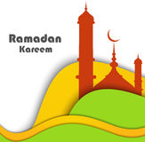 Vector Illustration of Mosque wave Ramadan Kareem Stock Photography