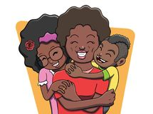 Black Mother Being Hugged by Her Children. Vector illustration of a mother being hugged by her two children. A happy family showing gratitude, love, affection Stock Photos