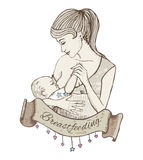 Vector illustration of mother breastfeeding baby Royalty Free Stock Image