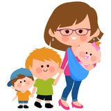 Mother walking with her children and her baby in a sling. Vector Illustration of a mother carrying her baby in a baby sling and walking with her children Royalty Free Stock Photos
