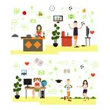 Vector set of family people symbols, icons in flat style vector illustration