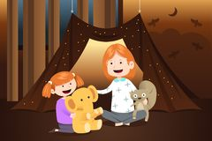 Mother and Daughter Playing Dolls at Home Illustration Royalty Free Stock Photo