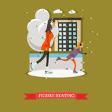 Vector illustration of mother with daughter skating in flat design Royalty Free Stock Images