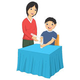 Vector Illustration Of A Mother Giving Milk To Her. Son Royalty Free Stock Photography