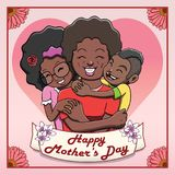 Happy Mother's Day Card - Black Mother Being Hugged by her Children Royalty Free Stock Photo