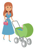 Vector illustration of mother walking with newborn baby on baby stroller  on white background. Young woman in blue dress p Royalty Free Stock Image