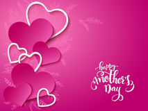 Vector illustration of mothers day card with lettering, doodle branches and a lot of hearts Royalty Free Stock Image