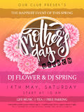 Vector illustration of mothers day event poster with round frame, blooming chrysanthemum flowers hand lettering text - stock illustration