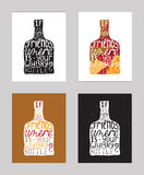 Vector illustration with motivationg inspirational quote about love to alcohol and whiskey.  Stock Image