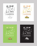 Vector illustration with motivationg inspirational quote about love to snacks and sandwich Royalty Free Stock Photos