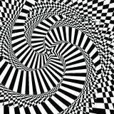 Vector illustration motley visual and optical illusion star-shaped black  white, twisted spiral Royalty Free Stock Image