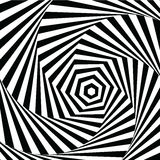 Vector illustration motley visual and optical illusion star-shaped black white, twisted spiral Stock Photography