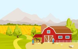 Vector illustration of mountain countryside landscape with red farm barn, fields, people and farm animals in cartoon. Flat design royalty free illustration