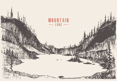 Vector illustration mountain lake pine forest draw. Vector illustration of a mountain lake with pine forest, engraving style, hand drawn Royalty Free Stock Image