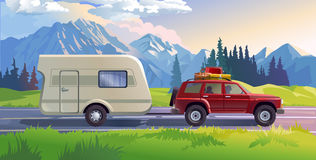 Vector illustration of a mountain landscape. With coniferous forest and the car in the foreground Royalty Free Stock Image