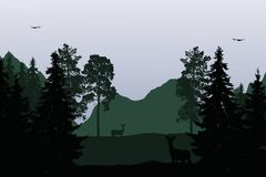 Vector illustration of mountain landscape with forest, deer and royalty free illustration