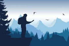 Vector illustration of a mountain landscape with a forest and fl. Ying birds and a tourist holding a map, under an blue sky Stock Photography
