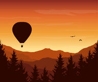 Vector illustration of mountain landscape with forest, flying ho stock illustration