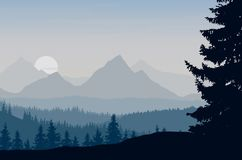Vector illustration of a mountain landscape with forest under th Stock Photography