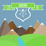Vector illustration. Mountain landscape and mountain trek emblem. Vector illustration. Mountain landscape. Mountain hikeng emblem Stock Photo