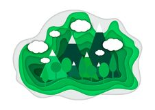 Vector illustration of a mountain landscape in a paper-cut style. Colorful mountain paper cut style. Vector illustration of a mountain landscape in a paper-cut Stock Photography