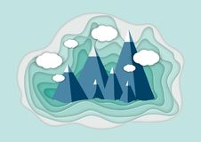 Vector illustration of a mountain landscape in a paper-cut style. Colorful mountain paper cut style. Vector illustration of a mountain landscape in a paper-cut Royalty Free Stock Photos