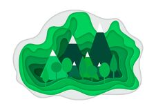 Vector illustration of a mountain landscape in a paper-cut style. Colorful mountain paper cut style. Vector illustration of a mountain landscape in a paper-cut Royalty Free Stock Photo