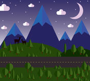 Vector illustration Mountain landscape beside the road, the hills are covered with forests, moonlit night, stars in the Stock Photos