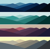 Vector illustration of mountain landscape in time of day Royalty Free Stock Photos