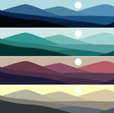Vector illustration of mountain landscape in time of day. Vector set of mountain landscape in time of day Royalty Free Stock Images