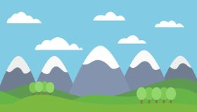 Vector illustration of a mountain landscape with trees and grass. With mountain peaks covered with snow under a blue sky with clouds - flat design Royalty Free Stock Photos