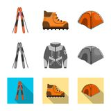 Vector design of mountaineering and peak icon. Set of mountaineering and camp vector icon for stock. Vector illustration of mountaineering and peak symbol royalty free illustration