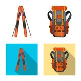 Vector design of mountaineering and peak icon. Collection of mountaineering and camp stock vector illustration. Vector illustration of mountaineering and peak royalty free illustration